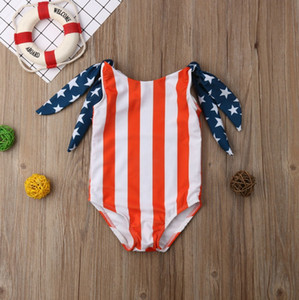 Kids Girls Swimsuits Star Striped Girl Swimwear One Piece Printed Kids Swim Clothes Sleeveless Independence Day Kids Clothing DSL-YW3057
