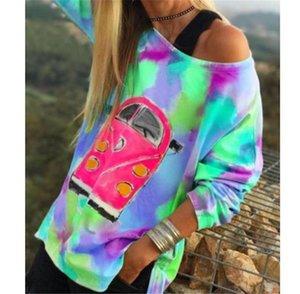 Tie Dye Женщины дизайнер Tshirts вскользь одно плечо с длинными рукавами Сыпучие Пуловеры Футболки Мода Женские топы