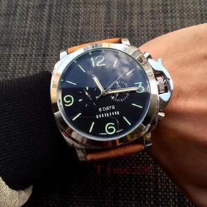Tüm Subdials Çalışma Lüks Erkekler saatı Mekanik Otomatik Saatler Moda Zarif Siyah Kahverengi Deri Erkekler İzle With Kutusu