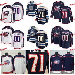 2019 콜럼버스 블루 재킷 Joonas Korpisalo 스티치 가드 유니폼 홈 새 사용자 정의 셔츠 # 70 Joonas Korpisalo Hockey Jerseys S-XXXL