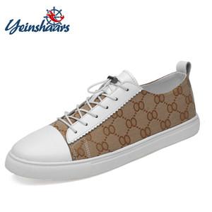 Cuoio genuino YEINSHAARS Moda e scarpe casual maglia di estate Uomini Handmade Vintage fannulloni Appartamenti calde di vendita delle scarpe da tennis Big Size 46