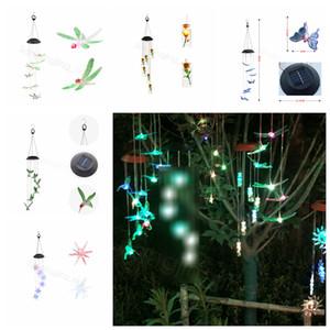 Solar Wind Chime LED Luz Hummingbird presente LED a cores descoloração Garden Decor Hanging Wall Light Wind Chime Ornamentos FFA3199-2