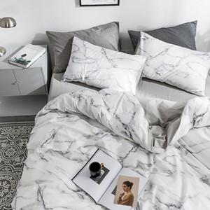 Комплекты постельных принадлежностей 4шт / набор конструктора постельного белья Marble Pattern чистого хлопка Простыня Одеяло обложка наволочки Soft
