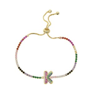 hot sale 26 initial charm bracelet with rainbow cz paved adjust bracelet colorful cz tennis bracelet bangle with letter custom