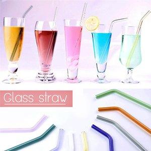Verre de paille réutilisable droit Bend Pailles à Boire Eco verre borosilicate Pailles à Boire mariage fête d'anniversaire de verre Pailles à Boire