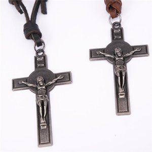 pu leather necklace religious jewelry Religious Cross Jesus Christian Bible Inspiring Faith Bracelets Men Personalize Gift