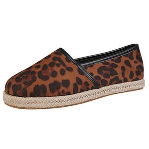 Yeni Sonbahar Moda Loafers Bayan Casual Flats Artı boyutu Düz Günlük Ayakkabılar Seksi Leopard Bayan Yuvarlak Burun Ayakkabı Buty damskie