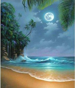 Ev Duvar Dekorasyonu için Kiti Full Diamond Seaside Moon Beach Nakış Yapay elmas Çapraz Dikiş Sanat Craft Kaynağı Boyama DIY 5D Elmas