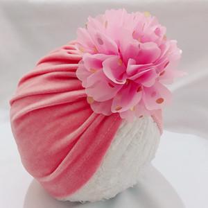 Pleuche Çocuk Hindistan Hat Tezhip Noktası şifon Çiçek Çok renkli Sıcak Lastik Cap tutun