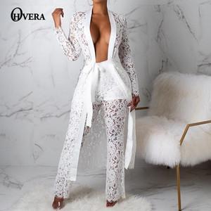Ohvera Dantel Seksi Iki Parçalı Set Uzun Kapak Up Ve Geniş Bacak Pantolon 2 Parça Set Kadın 2019 Yaz Kıyafetler