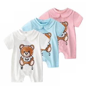 Haute Qualité bébé enfants vêtements de marque Romper D'été À Manches Courtes Lettre Ours Imprimer Barboteuse Vêtements 100% coton fille Garçon Barboteuses 0-2T
