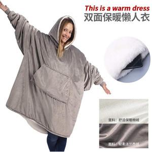 Winter im Freien mit Kapuze Taschen Decken warme weiche Kapuzen Slant Robe Bademantel Sweatshirt Pullover TV Fleece Decke mit Ärmeln