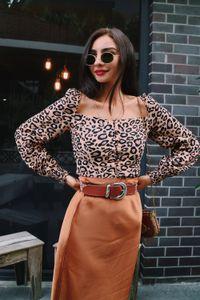 Casual Collar New Square Mulheres Tops Blusa Leopard Imprimir manga comprida Chiffon Camisa com botões Moda