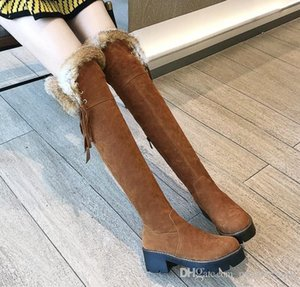 size 34 to 43 fur boots female booties over the knee thigh high boot luxury designer boots