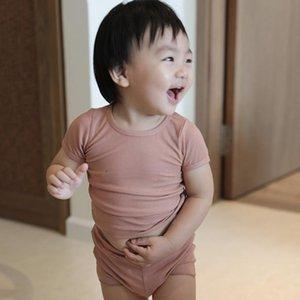 Çocuklar Boys homewear Kız Giyim 2adet Bebek Pijama Yaz Kısa Sleeve Seti Katı şeker renk gündelik Çocuk pijamalar DTZ487