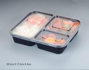 NEW 3 Compartment Reusable Plastic Food Storage Containers with Lids, Microwave and Dishwasher Safe, Bento Lunch Box, Set of 5