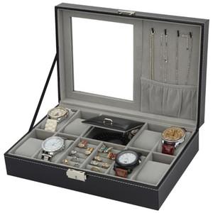 Cuoio monili della vigilanza di fascia alta Organizzatore Storage Box Caso per la vigilanza Jewery ornamento Casket Container Casse Portable