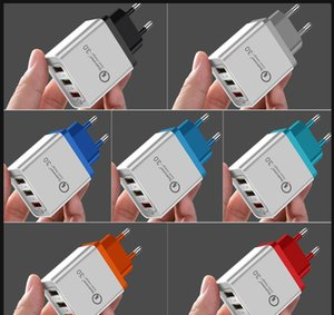 For iPhone Xiaomi Samsung Huawei LG Fast QC 3.0 USB Charger EU US 3 Ports Quick Charge Travel Mobile Phone Charger Adapter