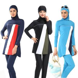 Praia islâmica árabe Swimwear Mulheres cobertura completa muçulmano 3 peça Suit Hijab Swimsuit Modest natação desgaste Surf Esporte Burkinis