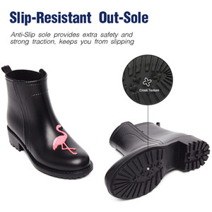 DRIPDROP Flamingo Rubber Rain Boots for Women Waterproof High Heel Fashion Girls Shoes Ladies Cute Short Ankle PVC Rainboots MX200324