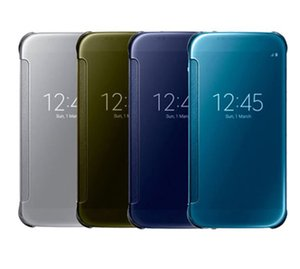 For Samsung GALAXY S6 S6 Edge G9250 Phone Cover Original Luxury Clear View Mirror Screen Flip Leather Case Anti-knock Shockproof Hard shell