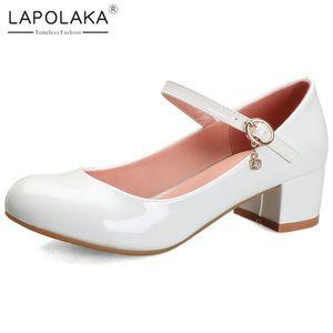 Lapolaka New Fashion Große Größe 43 Platz Heels schwarze Schuhe Frau Pumpen Female Buckle Strap Dropship Mary Janes Frauen-Pumpen