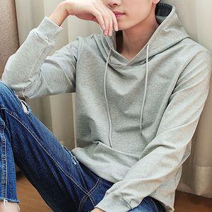 Nuova marca con cappuccio nero Moda a maniche lunghe da uomo Felpa con cappuccio Pullover da uomo solido casuale pullover Abbigliamento