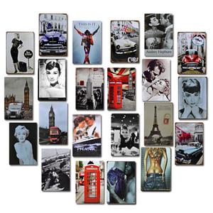 Vieja muestra de película de metal cartel Placa pared del arte retro de la decoración de la lata del metal para la barra del club del Pub cueva del hombre del hierro Pintura JK2006KD