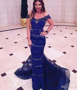 Индийский темно-синий Королевский вечерние платья длинные с плеча бисероплетение женщины вечерние платья выпускного вечера Русалка вечернее платье Платье indiano