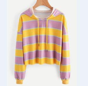 Moda Maglia a manica lunga allentato delle parti superiori a strisce gialla camicia casual cotone dolce Pullover