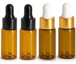 Toptan 500pcs / LOT 5ML Amber Damlalık Mini Cam Şişe Esansiyel Yağ Ekran Vial, Küçük Parfüm Kahverengi Numune kabı