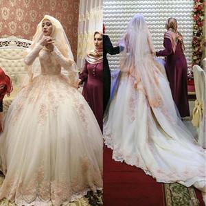 2020 Vintage мусульманская Длинные рукава высокого шеи Аппликации Свадебные платья бальное Islam шампанского Невеста на заказ платье невесты