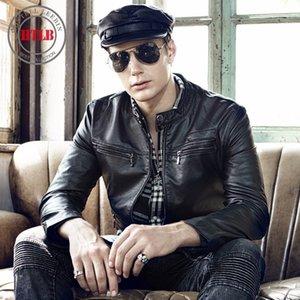 HTLB Brand New Мужской мода осень мотоцикл PU кожаные куртки пальто мужчина зима вскользь Теплое пальто ватки искусственная кожа куртка