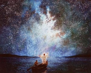 a055 Yongsung Kim CALM AND STARS Christ Jesus on Boat at Night Home Decor Handcrafts  HD Print Oil Painting On Canvas Wall Art Pictures 110