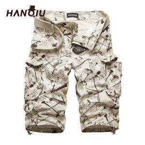 Hanqiu Algodón Para Hombre Pantalones cortos de carga Camuflaje Pantalones cortos masculinos Multi-bolsillo Camo informal al aire libre Tolling Homme pantalones cortos C19041301