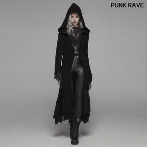 Ретро кружева рукав с капюшоном свитер готический Хэллоуин ведьмы Зимний свитер Утолщенные Шерстяной Женщины Кардиган пальто PUNK RAVE WM-047HMF