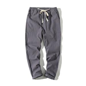 Pantalones casuales de moda para hombre de estiramiento de oliva suelta Chino novenos pantalones cargo para hombre pantalones cosechados de los hombres con peso ligero