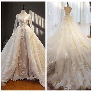 2019 Sheer Long Sleeves Spitze Appliques Hochzeit Dresse Sexy Open Back Lace-up Elegante Brautkleider Fashion Brautkleider