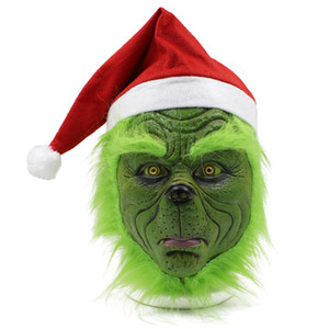 Christmas Mask with Red Santa Hat - Latex Full Face Mask Costume for Halloween