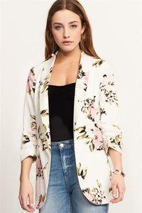 Blazers Fashion Casual Lapel Neck Long Sleeve Women Fall Coats Tops Ladies Slim Clothing Floral Womens Slim