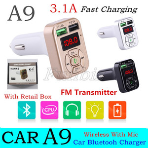 A9 Bluetooth Car charger FM Transmitters Dual USB port for cellphones