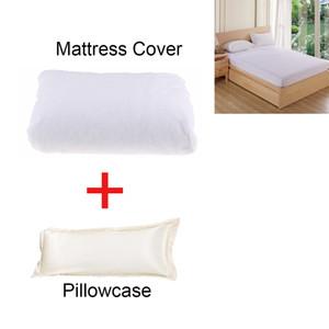 Stretch Waterproof Mattress Cover White 90x200cm & Long Body Pillow Pillowcase Pillow Cover