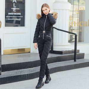 Frauen Neue Elegante Skianzug Casual Lange Reißverschluss Warme Baumwolle Gefütterte Kapuzenjacke Mantel Einteilige Overalls Winter Dicke Trainingsanzüge