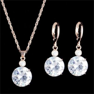 Pretty Wedding Beautifully Jewelry Set Water Drop CZ Conjuntos de joyas Chapado en oro plateado Collar Pendientes Wedding Party Conjuntos de joyas nupciales