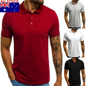 AU Männer Slim Short Sleeve V-Ausschnitt-Knopf Kragen-beiläufiges Shirt Basic Tops T