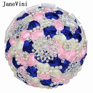 JaneVini Boeket Lüks Kraliyet Mavi Pembe Düğün Buketler Kristal İnciler Yapay Saten Gül Çiçek Gelin Sahte Buket Düğün Aksesuarları