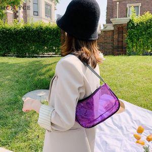PVC Transparent Travel Solid Totes Handbags Women Casual Clutch Shoulder Bags Simple Shoulder Messenger Bags