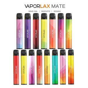 100% originale VaporLax Mate dispositivo monouso Pod Kit 500mAh Batteria 3 ml preriempita cartuccia 800 soffio Vape Svuotare penna 18 colori Genuine