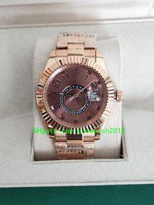 2019 nuova 42 millimetri vendita calda di stile di lusso Asia 2813 Movimento Sky-Dweller cioccolato arabo 326935 automatica 18 carati meccanico Rose Gold Mens Watch