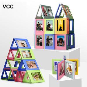 DIY Photo Frame Magnetic Building Block Фоторамка для детей Фото Рамки головоломки игрушки Gif Случайной Комбинация фоторамка